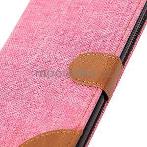 Růžové peněženkové látkové/PU kožené pouzdro pro Asus Zenfone 2 ZE551ML - 7