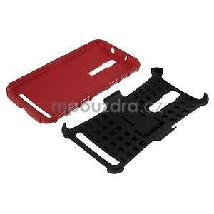 Vysoce odolný gelový kryt se stojánkem pro Asus Zenefone 2 ZE551ML - červený - 7