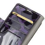 SnakeŠtýle PU kožené peňaženkové puzdro pre HTC One A9s - fialové - 7/7