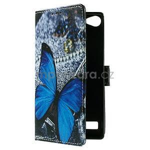 Peněženkové PU kožené pouzdro Lenovo Vibe X2 - modrý motýl - 7