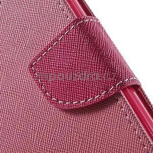 Dvoubarevné peněženkové pouzdro na iPhone 5 a 5s - růžové/rose - 7