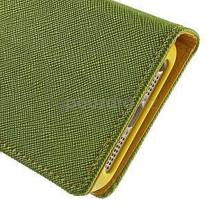 Dvoubarevné peněženkové pouzdro na iPhone 5 a 5s - zelené/žluté - 7