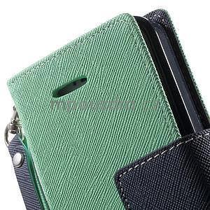 Dvoubarevné peněženkové pouzdro na iPhone 5 a 5s - azurové/tmavěmodré - 7