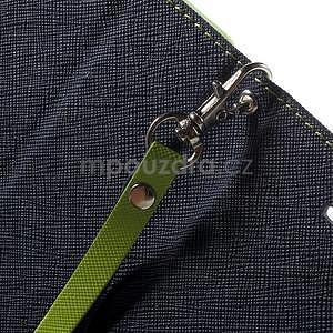Dvoubarevné peněženkové pouzdro na iPhone 5 a 5s - tmavěmodré/zelené - 7