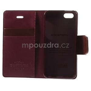 Peněženkové koženkové pouzdro na iPhone 5s a iPhone 5 - vínové - 7