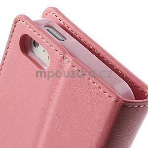 Peněženkové koženkové pouzdro na iPhone 5s a iPhone 5 - růžové - 7