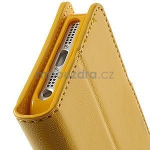 Peněženkové koženkové pouzdro na iPhone 5s a iPhone 5 - žluté - 7