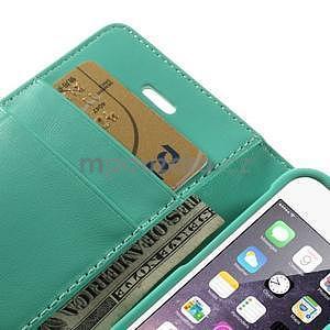 Peněženkové koženkové pouzdro na iPhone 5s a iPhone 5 - azurové - 7