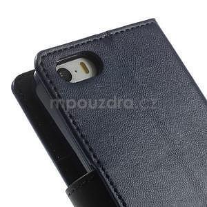 Peněženkové koženkové pouzdro na iPhone 5s a iPhone 5 - tmavěmodré - 7