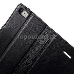 Peněženkové koženkové pouzdro na iPhone 5 a iPhone 5s - černé - 7