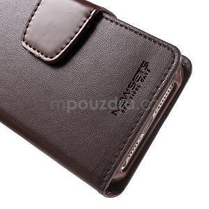Peněženkové koženkové pouzdro na iPhone 5 a iPhone 5s - tmavěhnědé - 7