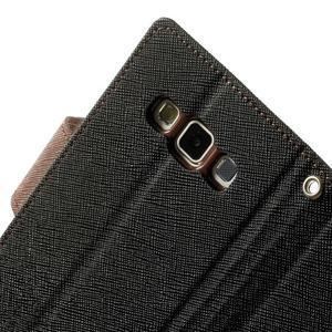 Diary PU kožené pouzdro na Samsung Galaxy A3 - černé/hnědé - 7
