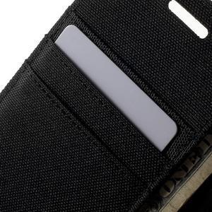 Luxury textilní/koženkové pouzdro na Samsung Galaxy A3 - černé - 7
