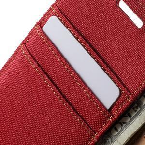 Luxury textilní/koženkové pouzdro na Samsung Galaxy A3 - červené - 7