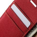 Luxury textilní/koženkové pouzdro na Samsung Galaxy A3 - červené - 7/7
