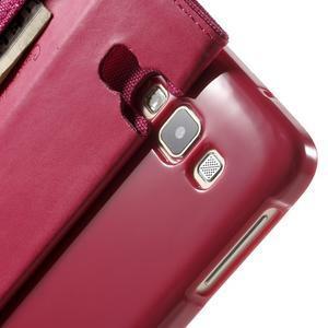 Luxury textilní/koženkové pouzdro na Samsung Galaxy A3 - rose - 7