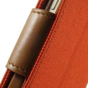 Luxury textilní/koženkové pouzdro na Samsung Galaxy A3 - oranžové - 7