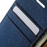 Luxury textilní/koženkové pouzdro na Samsung Galaxy A3 - modré - 7/7