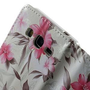 Květinové koženkové pouzdro na Samsung Galaxy Grand Prime - bíllé pozadí - 7