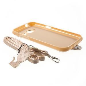 Obal s koženkovými zády a kočičkou Domi pro Samsung Galaxy J1 - zlatý - 7