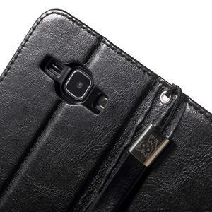 Koženkové pouzdro s kočičkou Domi na Samsung Galaxy J1 - černé - 7