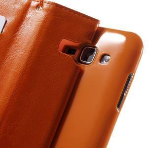 Koženkové pouzdro s kočičkou Domi na Samsung Galaxy J1 - oranžové - 7
