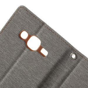 Luxury textilní/pu kožené pouzdro na Samsung Galaxy J5 - šedé - 7