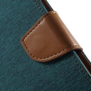 Luxury textilní/pu kožené pouzdro na Samsung Galaxy J5 - zelenomodré - 7