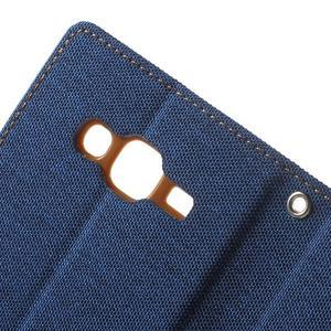 Luxury textilní/pu kožené pouzdro na Samsung Galaxy J5 - modré - 7