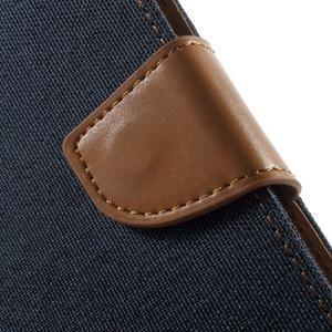 Luxury textilní/pu kožené pouzdro na Samsung Galaxy J5 - tmavěmodré - 7