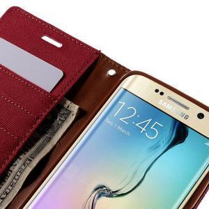 Luxury textilní/koženkové pouzdro pro Samsung Galaxy S6 Edge - červené - 7
