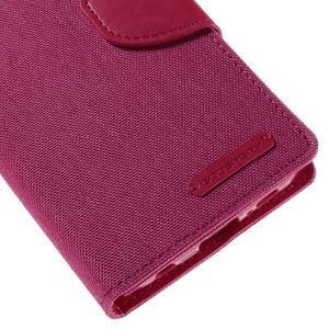 Luxury textilní/koženkové pouzdro pro Samsung Galaxy S6 Edge - rose - 7