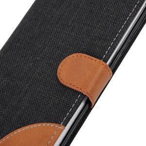 Jeans textilní/pu kožené pouzdro na Samsung Galaxy S6 Edge - černé - 7