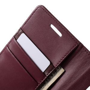 Wallet PU kožené pouzdro na Samsung Galaxy S6 Edge G925 - vínové - 7
