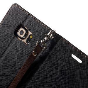 Diary PU kožené pouzdro na Samsung Galaxy S6 Edge - černé/hnědé - 7