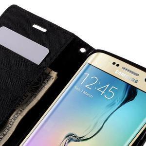 Luxury textilní/koženkové pouzdro pro Samsung Galaxy S6 Edge - černé - 7
