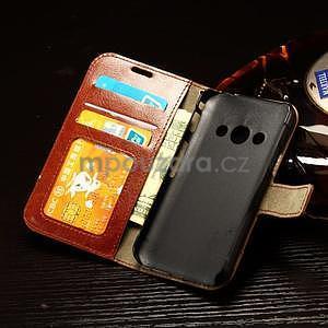 Koženkové peněženkové pouzdro na Samsung Galaxy Xcover 3 - hnědé - 7