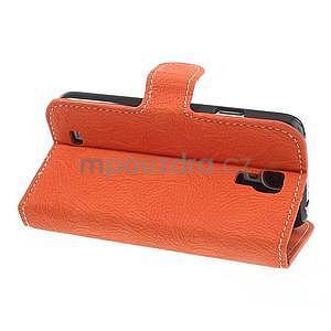 PU kožené peněženkové pouzdro na Samsung Galaxy S4 - oranžové - 7