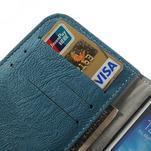 PU kožené peněženkové pouzdro na Samsung Galaxy S4 - modré - 7/7