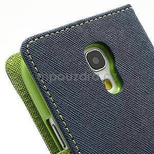 PU kožené peněženkové pouzdro na Samsung Galaxy S4 mini - tmavě modré - 7
