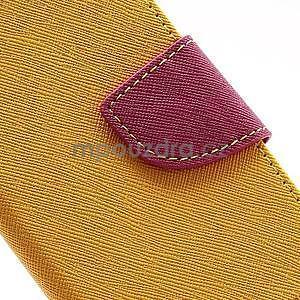 PU kožené peněženkové pouzdro na Samsung Galaxy S4 mini - žluté - 7