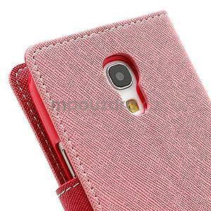 PU kožené peněženkové pouzdro na Samsung Galaxy S4 mini - růžové - 7