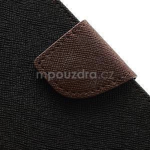 PU kožené peněženkové pouzdro na Samsung Galaxy S4 mini - hnědé/černé - 7