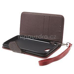 PU kožené lístkové pouzdro pro Sony Xperia E4 - červené - 7