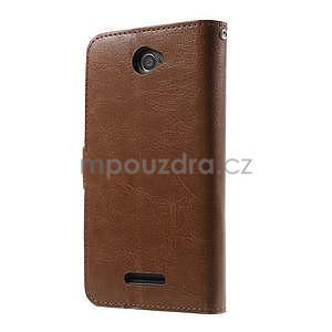 PU kožené peněženkové pouzdro na mobil Sony Xperia E4 - hnědé - 7