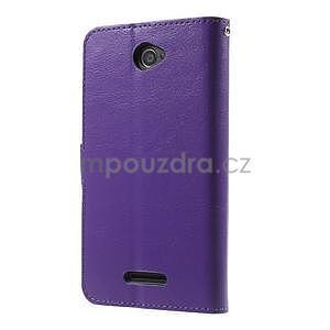 PU kožené peněženkové pouzdro na mobil Sony Xperia E4 - fialové - 7