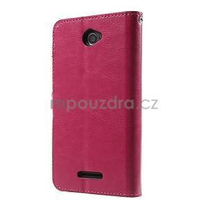PU kožené peněženkové pouzdro na mobil Sony Xperia E4 - rose - 7