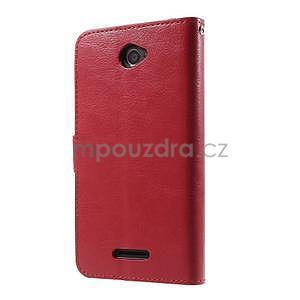 PU kožené pěněženkové pouzdro na mobil Sony Xperia E4 - červené - 7