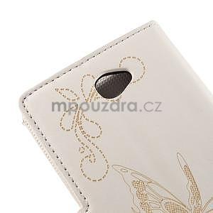 Peněženkové pouzdro s motýlkem na Sony Xperia E4 - bílé - 7