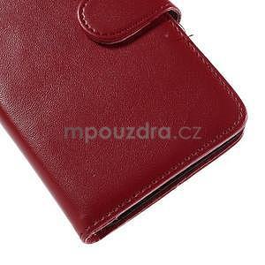 Peněženkové PU kožené pouzdro na Sony Experia E4 - červené - 7